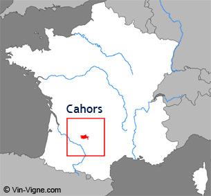 Carte de la région viticole de Cahors