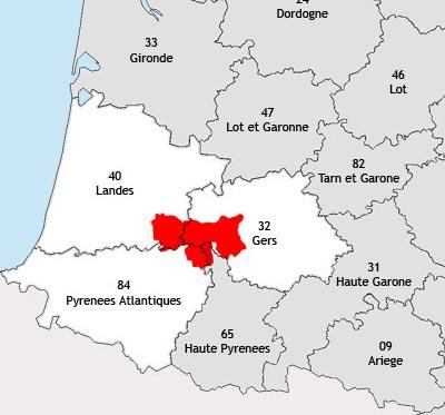 Localisation de la région viticole de la Chalosse