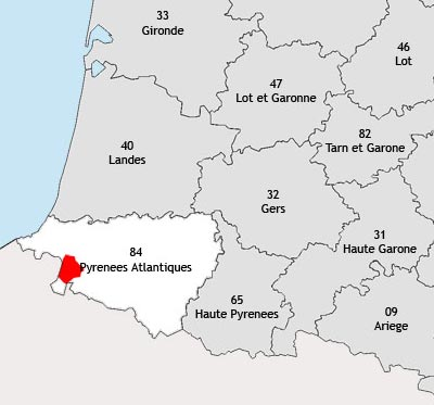 Localisation de la région viticole du Pays basque