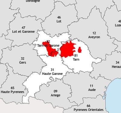 Localisation de la région viticole de Toulouse