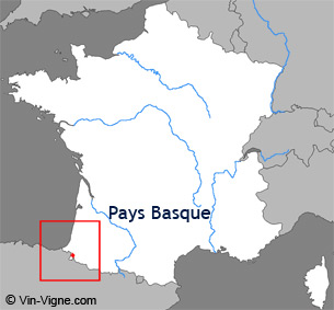 Carte de la région viticole du Pays basque