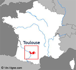 Carte de la rgion viticole de Toulouse