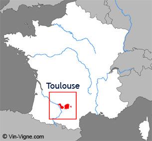Carte de la région viticole de Toulouse
