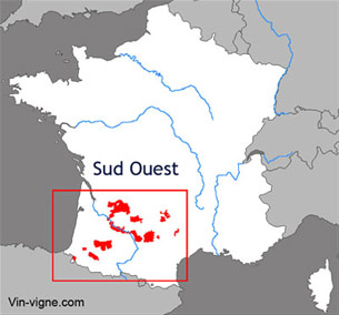 Carte viticole du vignoble du Sud-ouest