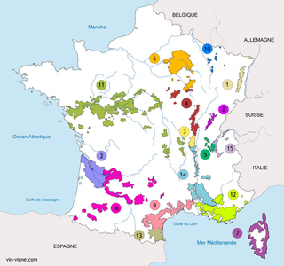 Carte des rgions viticoles de France
